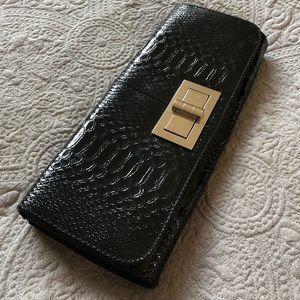 Black faux crocodile clutch by Lulu Townsend